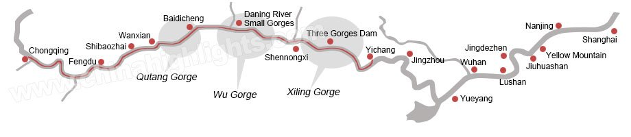 Chongqing and Yichang cruise map