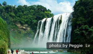 Huangguoshu Waterfall has larger water flow in summer