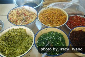 Rice noodles and condiments
