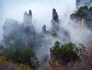 Misty peaks in Zhangjiajie National Forest Park