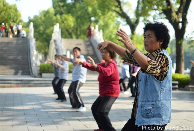 Morning exercise in guilin