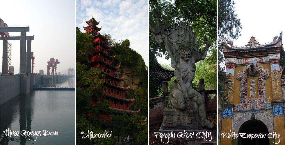 the Three Gorges Dam, Shibaozhai, Fengdu Ghost City, White Emperor City