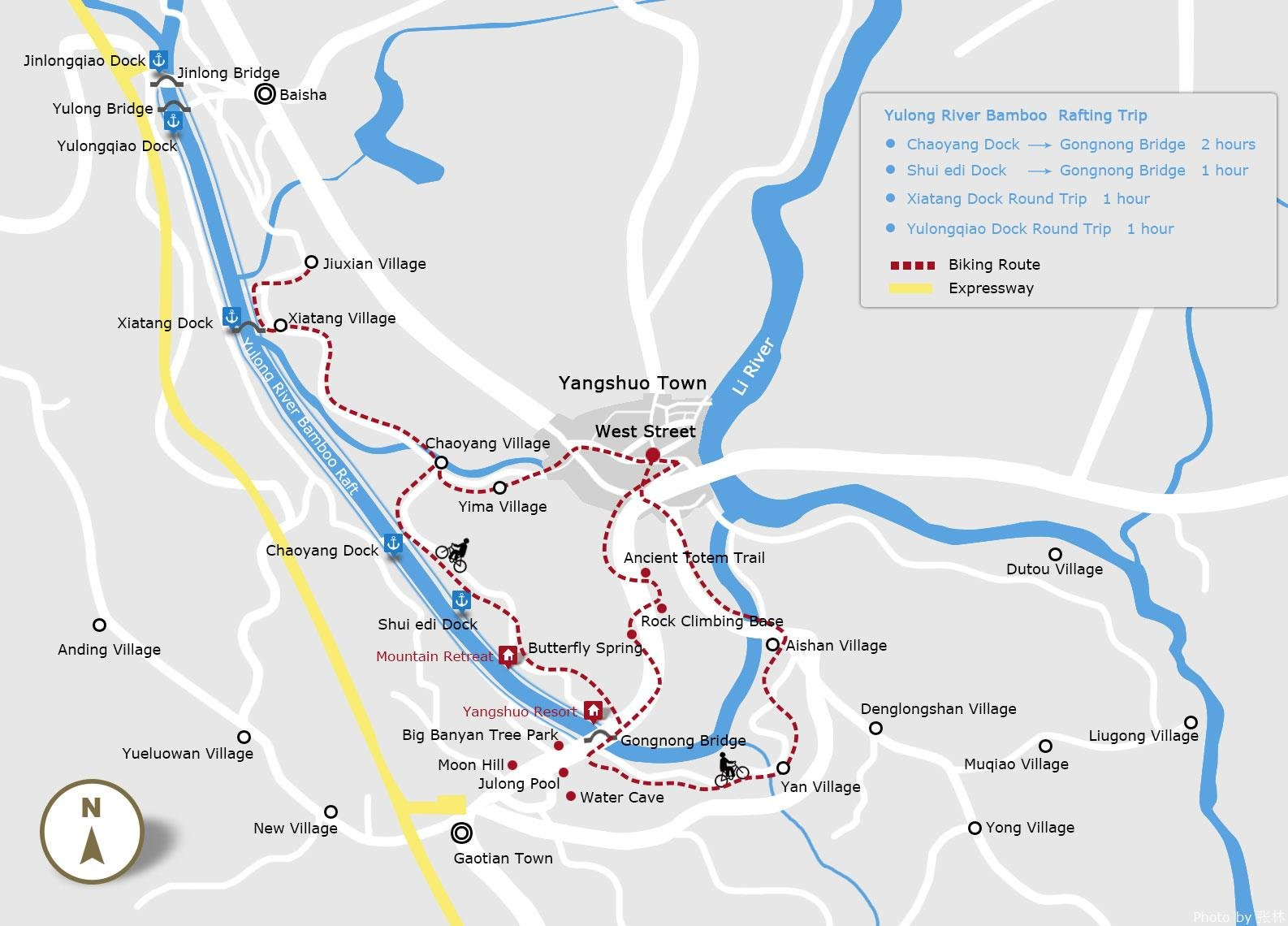 yulong river rafting and biking map