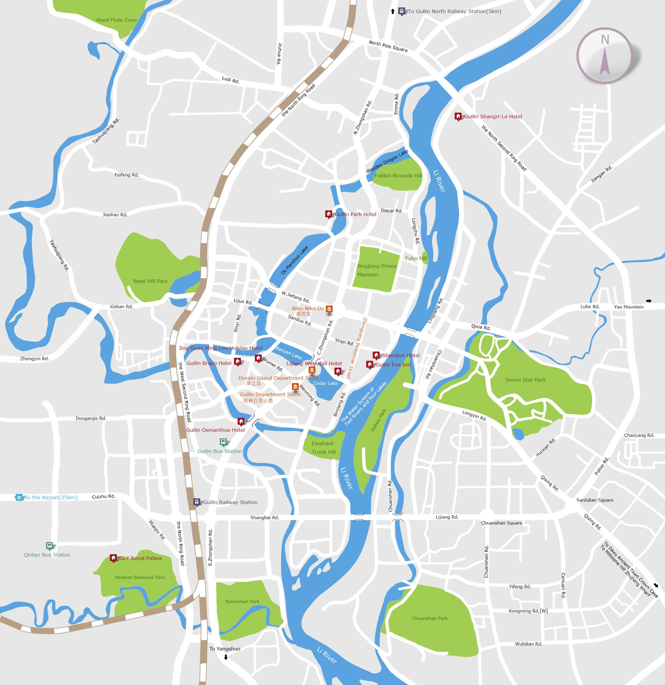 guilin city center map