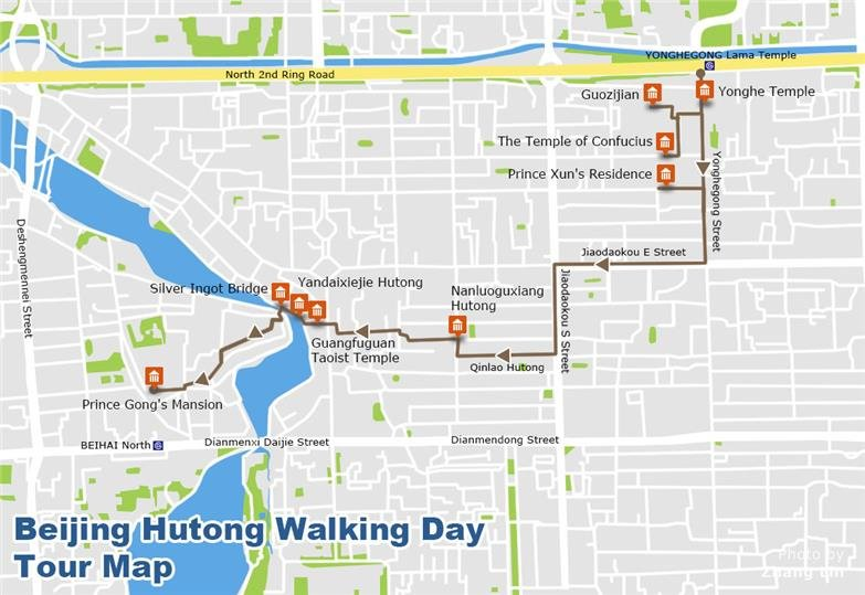 Beijing Hutongs Walking Tour Map