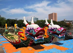 Colorfully-decorated dragon boats