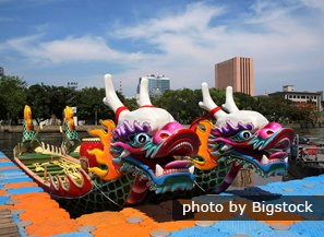 Colorfully painted dragon boats