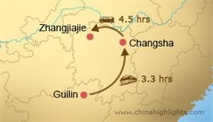 guilin to zhangjiajie transportation map