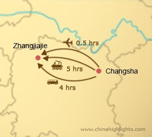 changsha to zhangjiajie transportation map