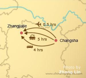 changsha to zhangjiajie transportation map