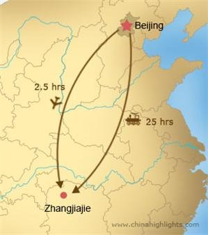 Beijing to zhangjiajie transportation map