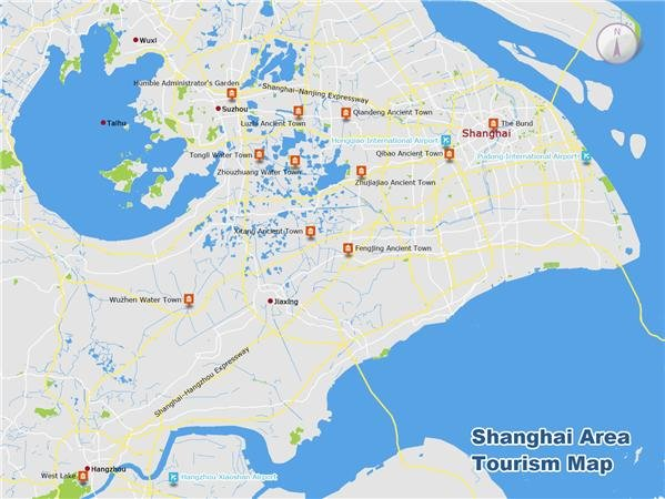 shanghai area tourism map