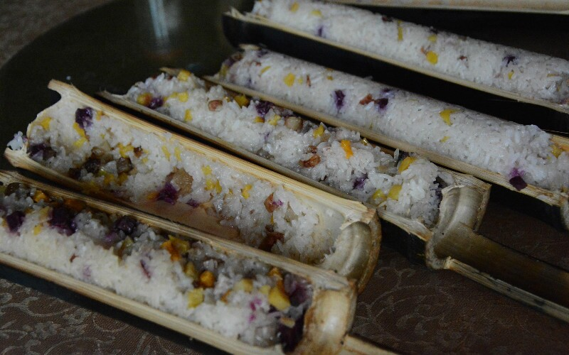 Rice Cooked in Bamboo Tubes, Bamboo Stuffed Rice