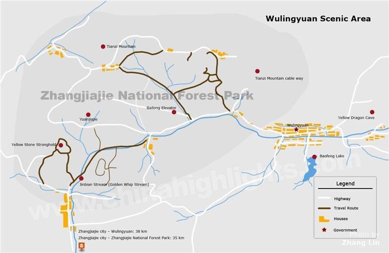 Wulingyuan Scenic Area Map, Zhangjiajie