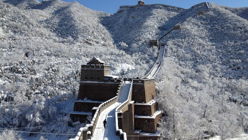 snowy scenery of the great wall