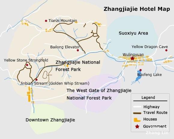 Zhangjiajie Hotel Map