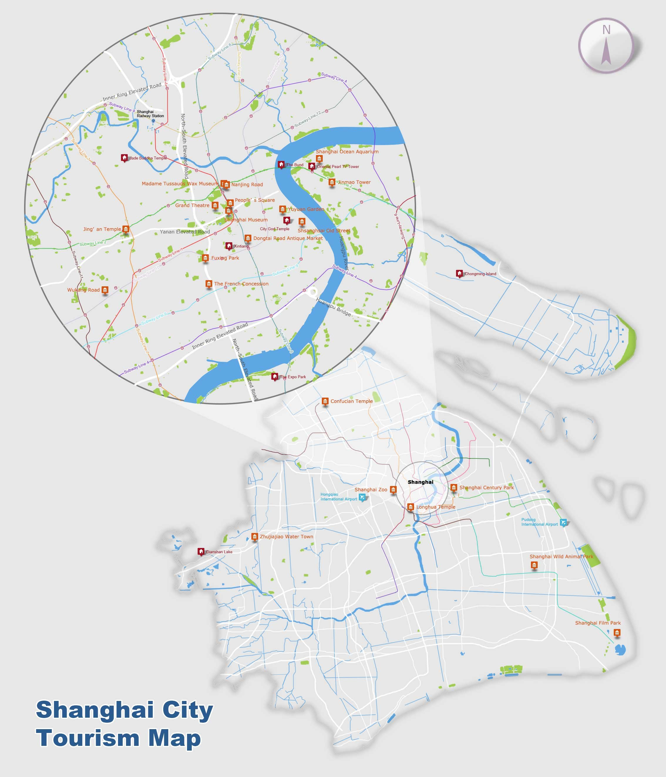 Shanghai Map Map of Shanghais Tourist Attractions and Subway