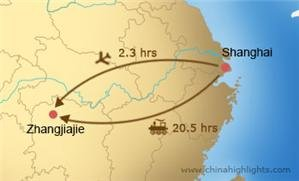shanghai to zhangjiajie transportation map
