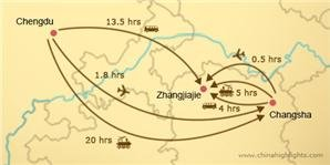chengdu to zhangjiajie transportation map