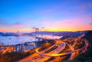 The sunset at Tsing Ma Bridge