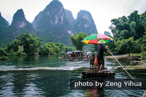 Bamboo rafting on Yulong River in Yangshuo