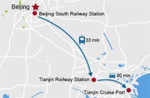 Beijing to Tianjin Cruise terminal map