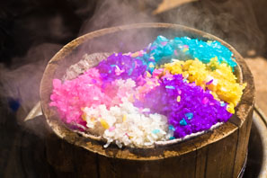 steam colored rice