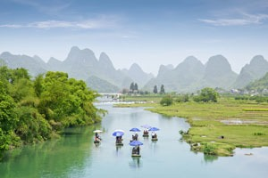 Bamboo rafting along the Yulong River