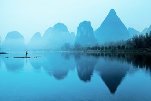 Li River mists in the rainy season
