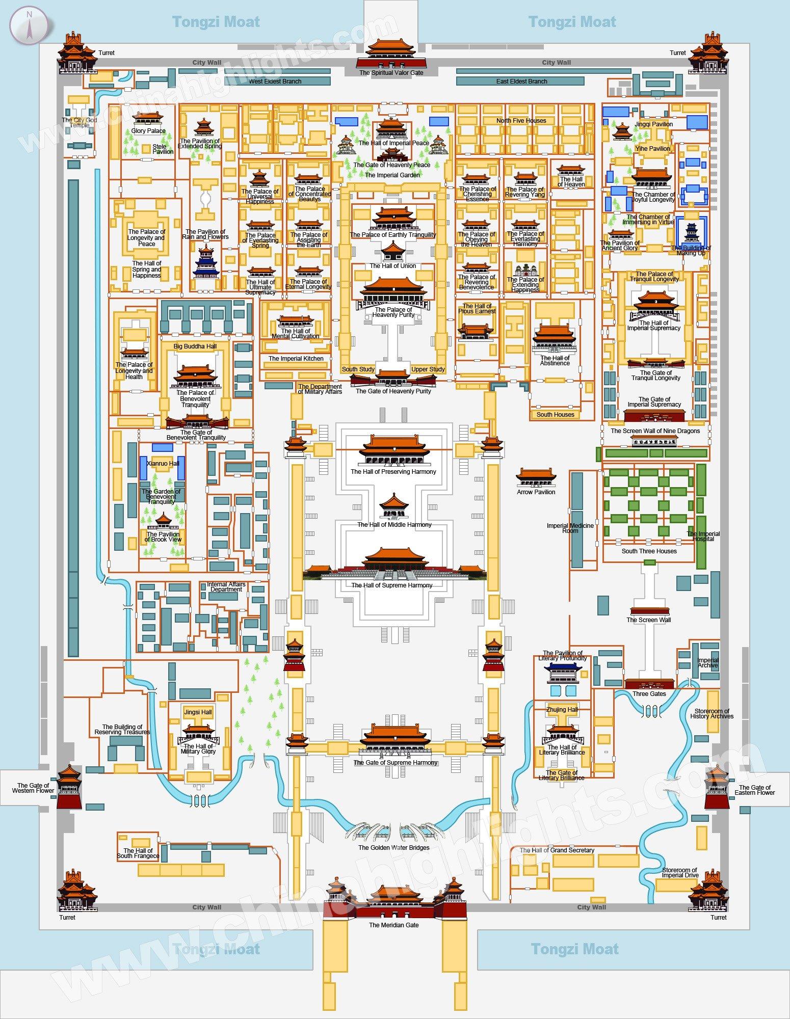 Forbidden City Map, Map of Beijing Forbidden City