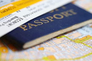 air tickets, passport, and map