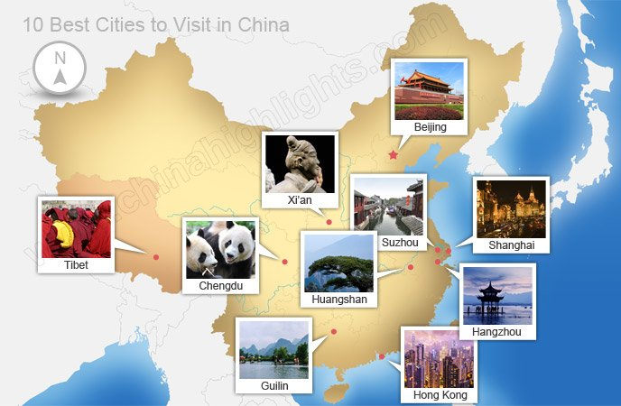 Top cities to visit in China map