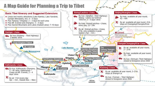 Map guide for planning a tibet tour
