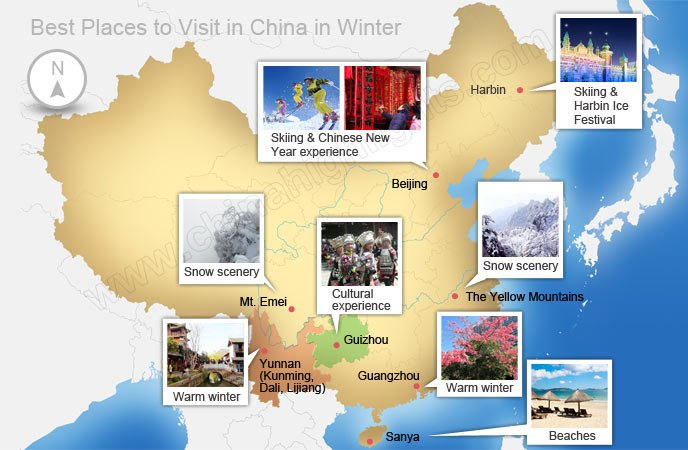 China Winter Destinations Map
