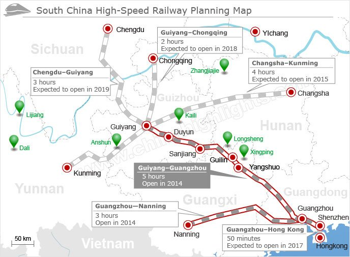 planning map of high speed railway in south china