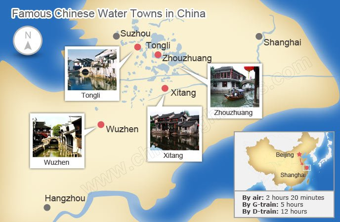 map of water towns in china
