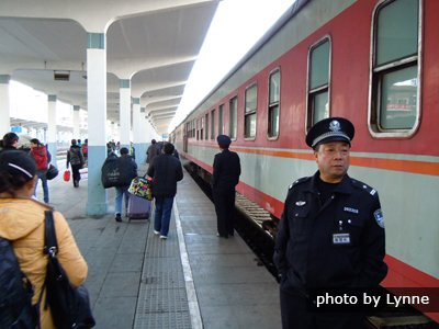 guards by the train