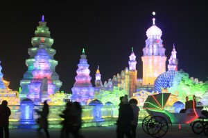 Massive ice sculptures in Harbin