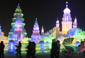 Harbin's giant ice sculpture in winter