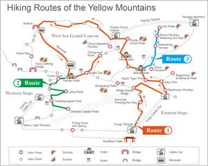 popular hiking route map of the yellow mountain