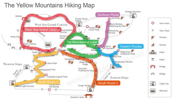 hiking map of the yellow mountains