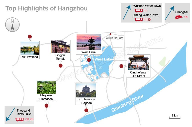 hangzhou attractions map and distance