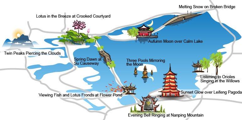 ten scenes of west lake map