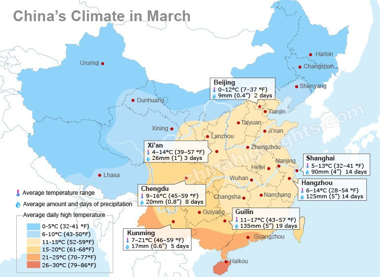China weather in march average temperature in major chinese cities china march climate map gumiabroncs Gallery