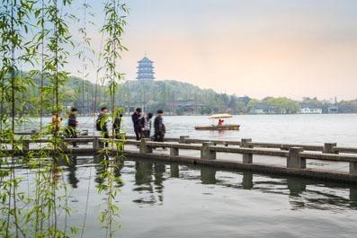 Lago Occidentale Hangzhou aprile