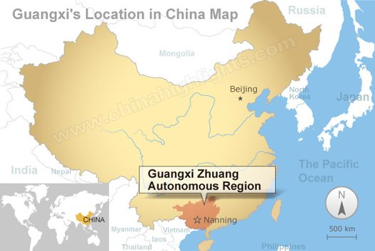 Guangxi's location in China map