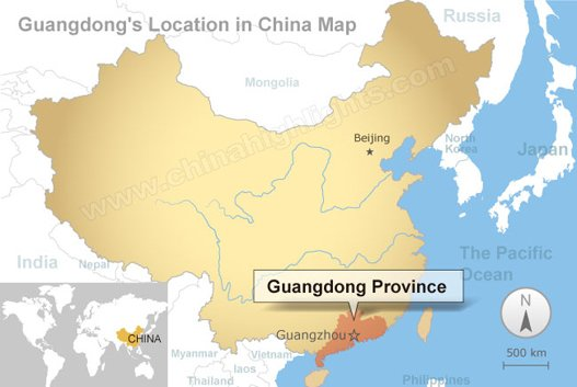 Guangdong's location in China Map