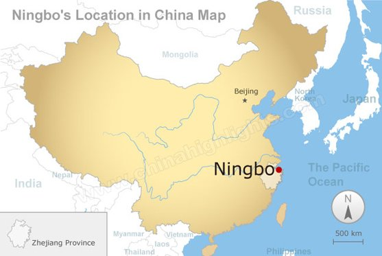 Ningbo's Location in China Map