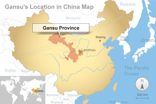 Gansu's location in China map