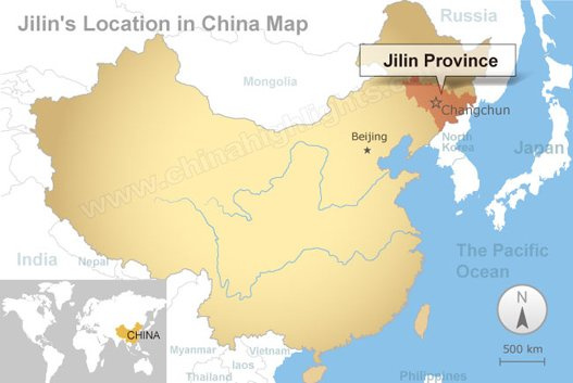 Jilin's location in China map